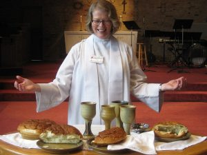 Pastorin Abendmahl Kirche